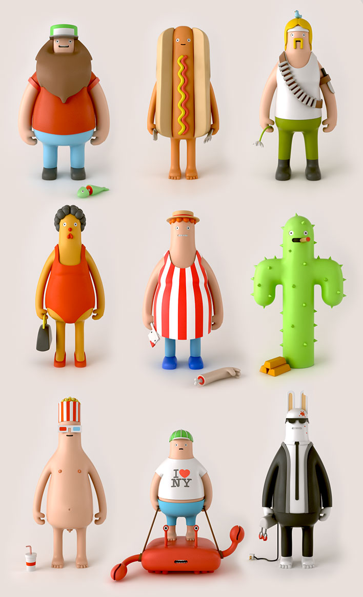 Yum Yum Heroes And Villains art toy designs